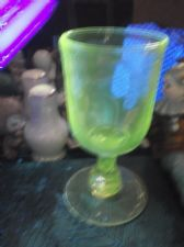 ANTIQUE HEAVY RUMMER GLASS VERY WIDE BASE FACET STEM UV GREEN GLOW 6""